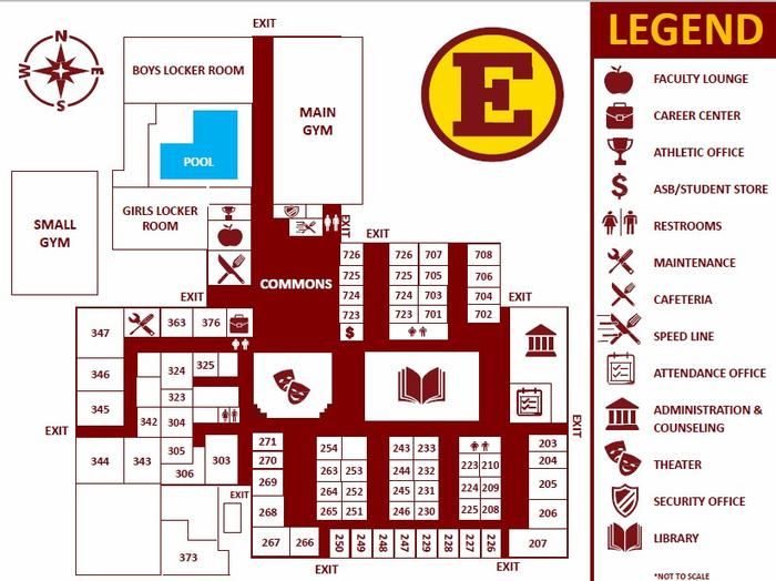Image of the Estancia High School Campus Map containing classroom locations,  Administration and Counseling Office, Attendance Office, Athletic Office,  Career Center, ASB Student Store, Cafeteria, and Library